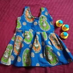 Aarika Blue Kalamkari Naachni Frock