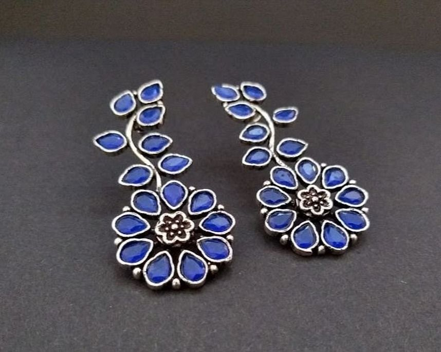 Smile Decors Royal Blue Floral Earrings