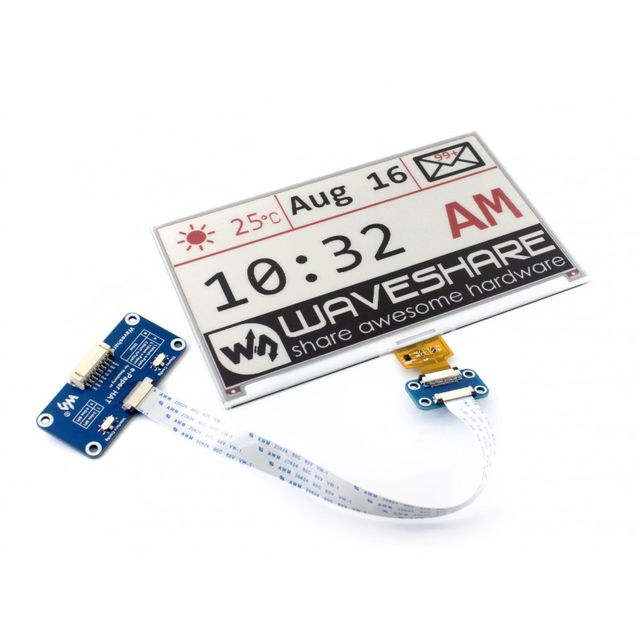 640x384, 7.5inch E-Ink display HAT for Raspberry Pi
