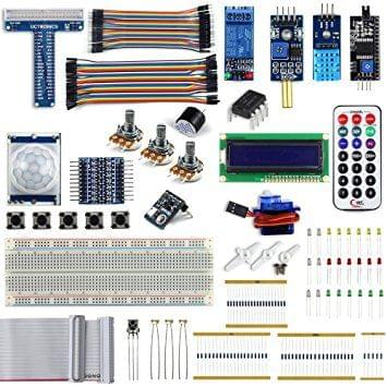 UCTRONICS Complete Upgraded Starter Kit for Raspberry Pi 3 w/ Tutorial, included Servo Motor T-Type GPIO Extension Board 8 Channel Logic Level Converter Relay Module Potentiometer Active Buzzer