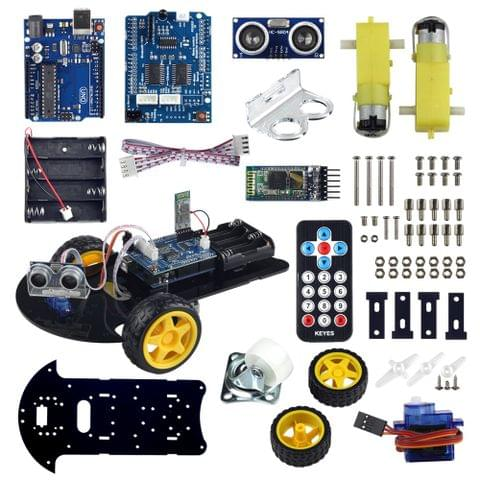 UCTRONICS Bluetooth Robot Car Kit for Arduino with UNO R3, HC-SR04 Ultrasonic Sensor, HC-05 Bluetooth Module, Infrared IR Wireless Remote Controller, L293D Motor Control Shield, Micro Servo Motor 9g