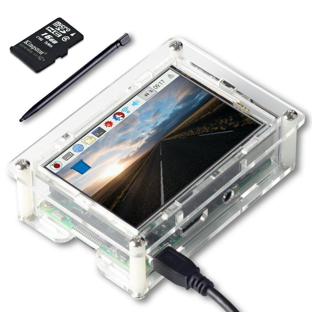 UCTRONICS 3.5 Inches TFT Touch Screen for Raspberry Pi 3 480 x 320 Resolution LCD Resistive Display Monitor HDMI SPI Interface with Touch Pen, 16GB SD card, clear case