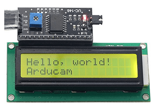 Arducam 1602 16x2 Serial HD44780 Character LCD Board Display Black on Green with Backlight 5V with IIC/I2C Serial Interface Adapter Module for Arduino