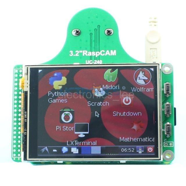 RaspCAM 3.2''TFT LCD display + TSP+ camera module /w M12*0.5 for Raspberry Pi B+