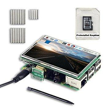 UCTRONICS 3.5 Inch HDMI TFT LCD Display Kit with Touch Screen, Touch Pen, 3 Heat Sinks, 16GB SD Card Preinstalled Raspbian Software for Raspberry Pi 3 Model B, Pi 2 Model B, Pi B+