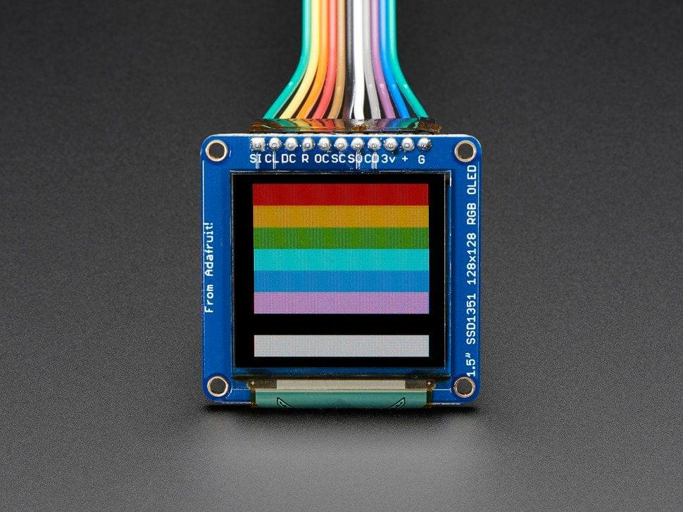 "OLED Breakout Board - 16-bit Color 1.5"" w/microSD holder"