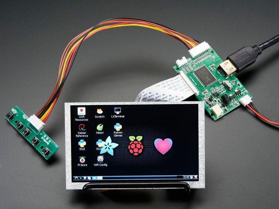 "HDMI 4 Pi: 5"" Display (no Touch) w/Mini Driver - 800x480 HDMI"