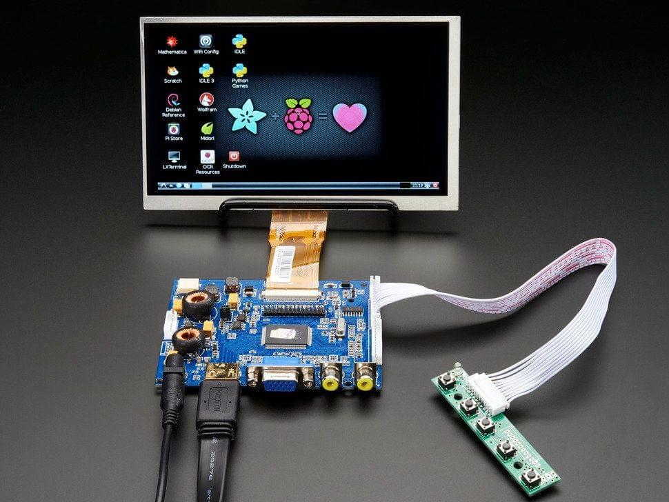"HDMI 4 Pi: 7"" Display & Audio 1024x600 - HDMI/VGA/NTSC/PAL"