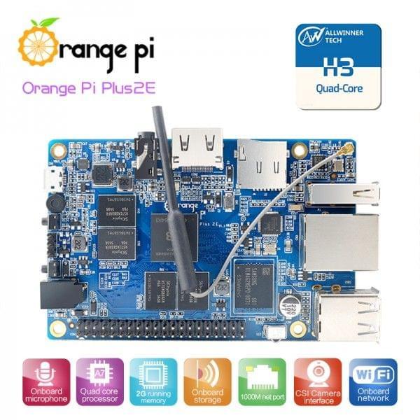 Orange Pi Plus2E (16GB EMMC / 2GB RAM / WiFi)