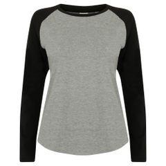 Skinni Fit Damen Baseball T-Shirt, langärmlig
