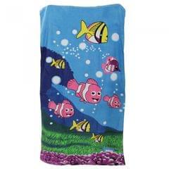 Velours Badetuch / Beach-Handtuch / Strandtuch mit Meeresfisch-Motiv