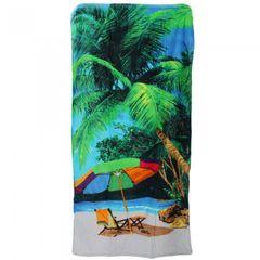 Velours Badetuch / Beach-Handtuch / Strandtuch mit Palmen-Motiv