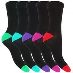 FLOSO Damen Socken mit buntem Fersen- und Zehenbereich, schwarz, 5er-Pack
