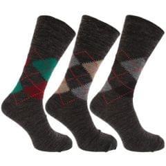 Herren Socken mit Rautenmuster, nicht-einschneidende Bündchen, 3er-Pack