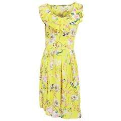 Damen Sommer Kleid mit Blumen-/Vogelmuster, ärmellos