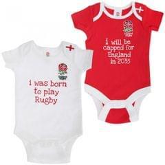 England R.F.U. Baby Bodies mit Spruch und Rugby Wappen (2er Packung)