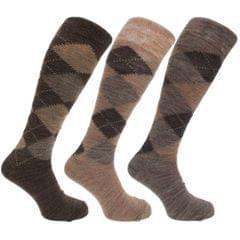 Herren Socken / Kniestrümpfe mit Rautenmuster, nicht-einschneidende Bündchen, 3er-Pack