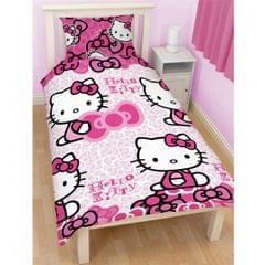 Kinder Mädchen Hello Kitty Bettwäsche-Set, Einzelbettgröße