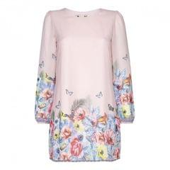 Yumi Damen Tunika-Kleid mit tropischem Muster