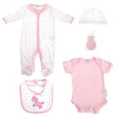 Nursery Time Baby Mädchen 5-teiliges Geschenkset mit Einhorn Design
