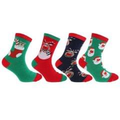 FLOSO - Chaussettes de Noël (4 paires) - Enfant unisexe