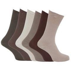 Chaussettes striées non-élastiquées de grande taille 100% coton (lot de 6 paires) - Homme