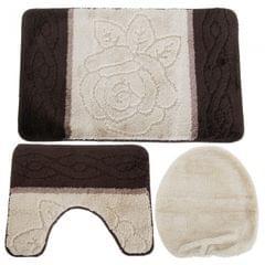 Ensemble de tapis de bain, contour de lavabo et couverture d'abattant WC
