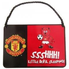 Manchester United FC offizielles Kinder Metall Fußball Maskottchen Schild