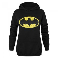 Damen Kapuzenpullover mit Batman-Logo im Used-Look