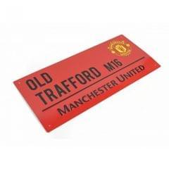Offizielles farbiges Metallstraßenschild Manchester United FC