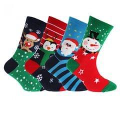 FLOSO - Chaussettes de Noël (Lot de 4 paires) - Enfant