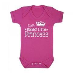 FLOSO Baby Girls Daddys Little Princess Short Sleeve Bodysuit