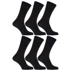 Mens 100% Cotton Non Elastic Top Gentle Grip Socks (Pack Of 6)