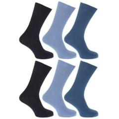 FLOSO Mens Non Elastic Top 100% Cotton Socks (Pack of 6)