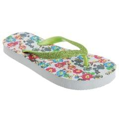 FLOSO Childrens/Girls Floral Toe Post Flip Flops With Glitter Strap