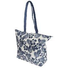 FLOSO Womens/Ladies Floral Leaf Pattern Straw Woven Summer Handbag