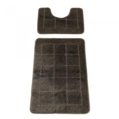 2 Piece Beach Grid Design Bath & Pedestal Bathroom Mat Set