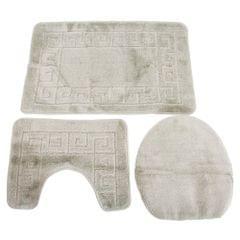3 Piece Greek Key Pattern Design Bath, Pedestal & Toilet Seat Cover Bathroom Mat