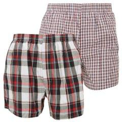 FLOSO Mens Cotton Woven Boxers (Pack Of 2)