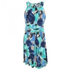 Womens/Ladies Floral Print Sleeveless Summer Dress With Pleated Waistline