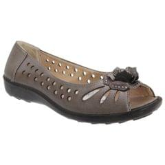 Boulevard Womens/Ladies Punched Open Toe Flower Casual Shoes