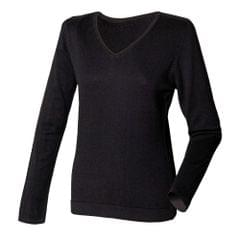 Henbury Womens/Ladies 12 Gauge Fine Knit V-Neck Jumper / Sweatshirt