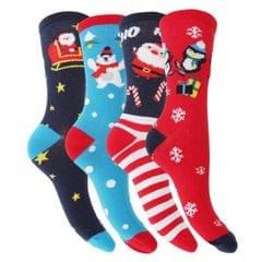 FLOSO Womens/Ladies Christmas Character Design Novelty Socks (4 Pairs)