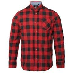 Brave Soul Mens Long Sleeve Printed Checkered Heavily Brushed Shirt