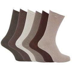 Mens Ribbed Non Elastic Top Socks (Pack Of 6)