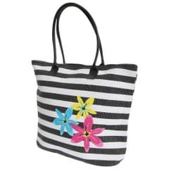 FLOSO Womens/Ladies Floral Stripe Patterned Straw Woven Summer Handbag