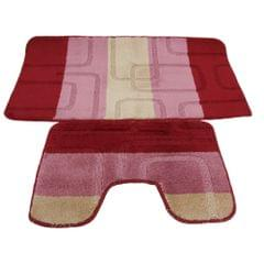 2 Piece Square Design Bath Mat And Pedestal Mat Set (5 Options)