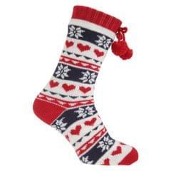 Womens/Ladies Knitted Fairisle Pattern Slipper Socks With Floor Grippers
