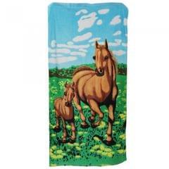 Horse & Foal Design Velour Beach Towel