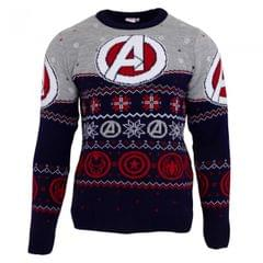 Marvel Avengers Unisex Adults Logo Patterned Jumper